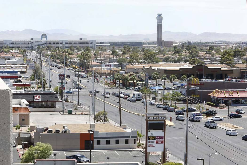 S. Maryland Parkway as seen from the roof of a parking garage on Friday, June 9, 2017 where a light rail line will be built and operate connecting McCarran International Airport, the Strip and dow ...