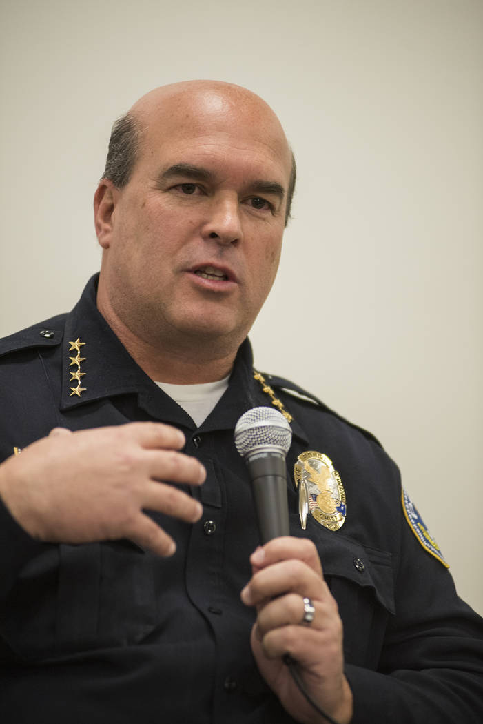 In this March 7, 2015 file photo, Chief of Henderson Police Patrick Moers addresses trends in the U.S. police tactics and policies during the Ethical Policing lecture held at the University of Pho ...