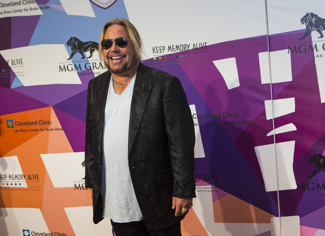 "Vince Neil arrives at Keep Memory Alive's 21st Annual ""Power of Love Gala"" at MGM Grand Garden on Thursday, April 27, 2017, in Las Vegas. (Chase Stevens/Las Vegas Review-Journal)"