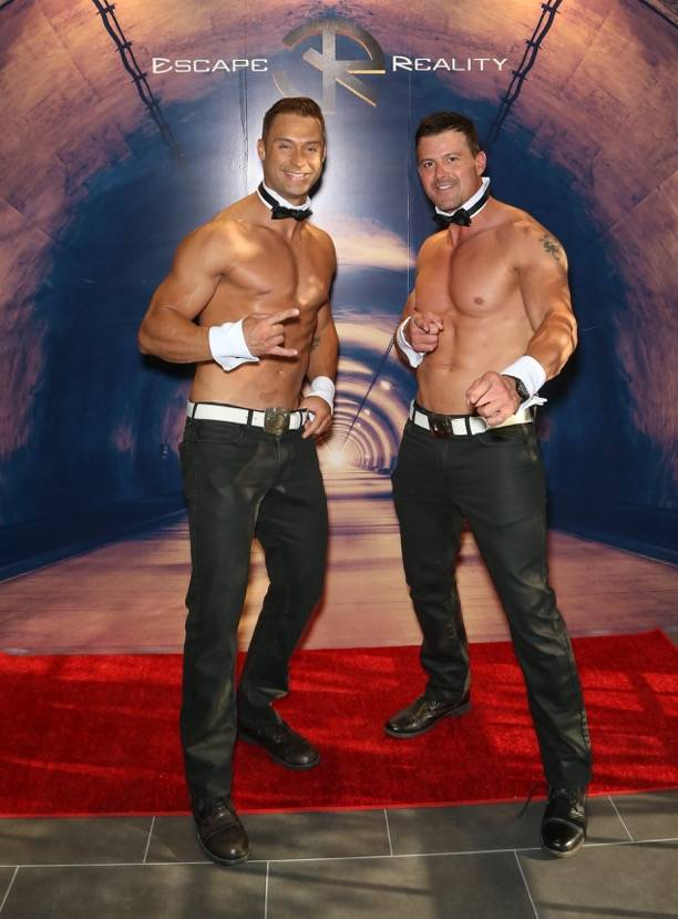 James Davis and Nathan Minor of Chippendales at The Rio attend the grand opening of Escape Reality USA on Monday, June 5, 2017, in Las Vegas. (Gabe Ginsberg)