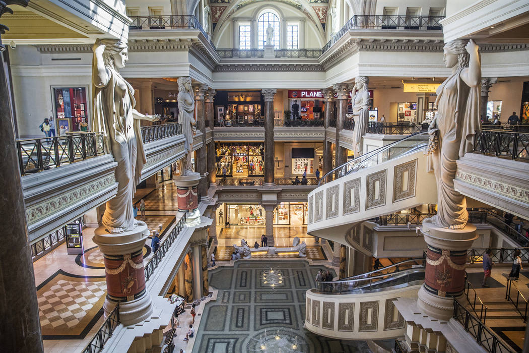 Shoppers walk through the Forum Shops at Caesars on Wednesday, May 3, 2017, at Caesars Palace in Las Vegas. (Benjamin Hager Las Vegas Review-Journal) @benjaminhphoto