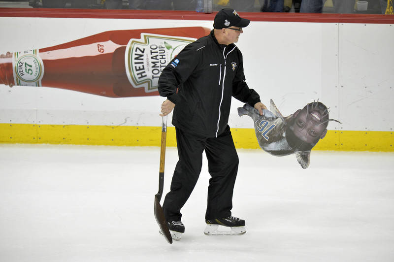 A catfish cutout with the likeness of Nashville Predators defenseman P.K. Subban (76) is removed from the playing surface in a stoppage in play against the Pittsburgh Penguins during the third per ...