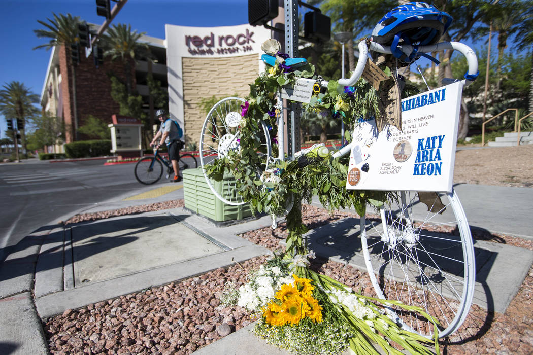 The ghost bike memorial of Dr. Kayvan Khiabani along South Pavillion Center Drive near West Charleston Boulevard on Saturday, June 17, 2017, in Las Vegas. Khiabani, 51, was killed while riding his ...