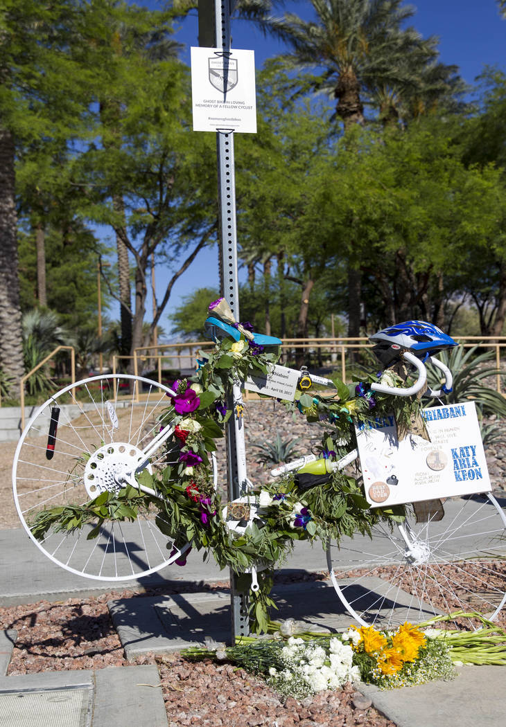 The ghost bike of Dr. Kayvan Khiabani along South Pavillion Center Drive near West Charleston Boulevard on Saturday, June 17, 2017, in Las Vegas. Khiabani, 51, was killed while riding his bike in  ...