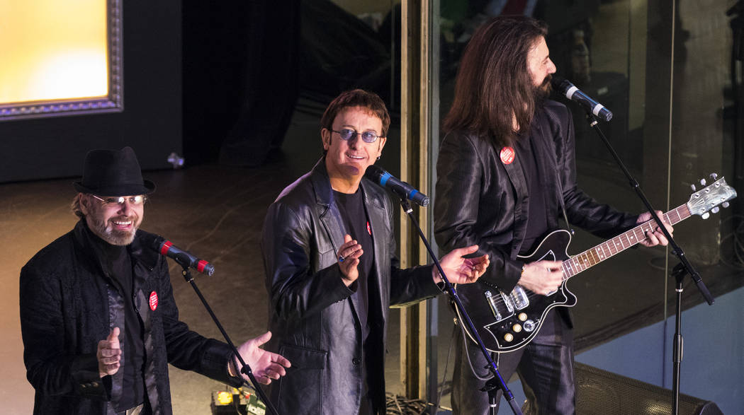 """""""The Australian Bee Gees Show"""" performs during a celebration of tourism hosted by Las Vegas Convention and Visitors Authority at Fashion Show on Tuesday, May 9, 2017, in Las Vegas. (Miranda Alam/L ..."""