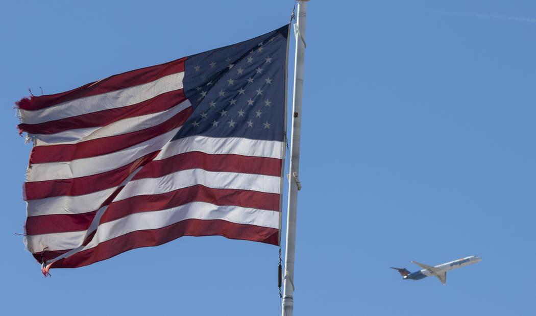 An Allegiant Air jetliner departs from McCarran International Airport in Las Vegas on Friday, June 9, 2017. (Richard Brian Las Vegas Review-Journal) @vegasphotograph