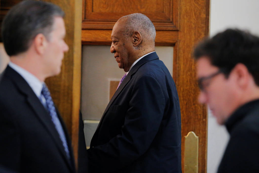 Actor and comedian Bill Cosby walks back into the courtroom after a break during the fifth day of his sexual assault trial at the Montgomery County Courthouse in Norristown, Pennsylvania, June 9,  ...