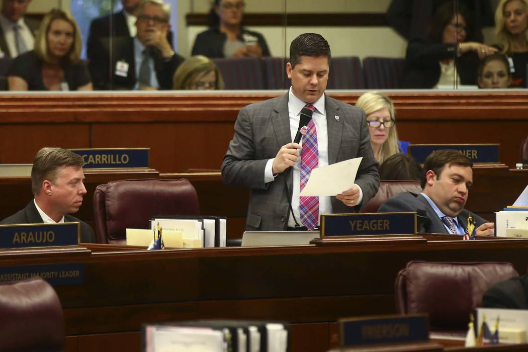 Assemblyman Steve Yeager, D-Las Vegas, speaks on the floor of the Assembly during the last day of the Nevada Legislature in Carson City on Monday, June 5, 2017. (Chase Stevens Las Vegas Review-Jou ...