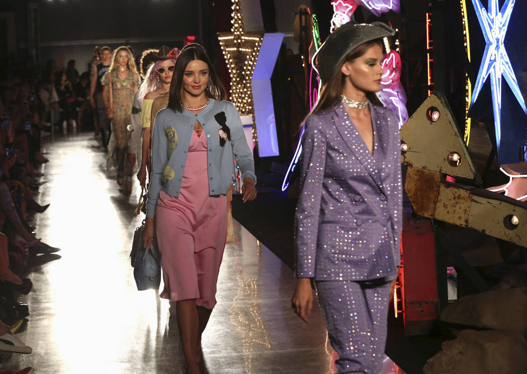 Models walk down the runway at the Moschino fashion show at MADE Fashion Festival on Thursday, June 8, 2017, in Los Angeles. Willy Sanjuan/Invision/AP)