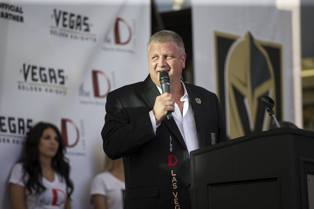 Derek Stevens, owner of the The D Las Vegas casino-hotel, during a press conference announcing his hotel's partnership with the Vegas Golden Knights at the Fremont Street Experience on Tuesday, Ju ...