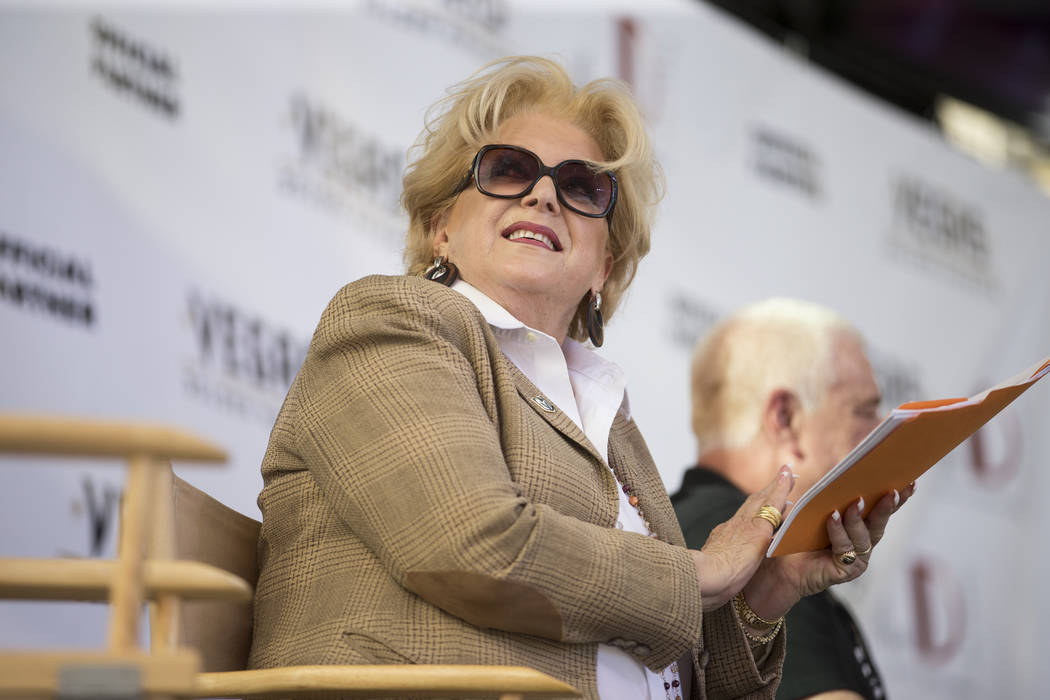 Las Vegas Mayor Carolyn Goodman during a press conference announcing a partnership between The D Las Vegas casino-hotel and the Vegas Golden Knights at the Fremont Street Experience on Tuesday, Ju ...