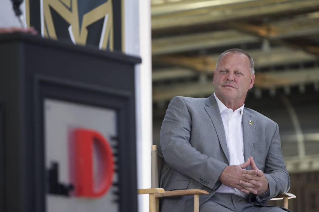 Vegas Golden Knights head coach Gerard Gallant during a press conference announcing a partnership between The D Las Vegas casino-hotel and the Vegas Golden Knights at the Fremont Street Experience ...