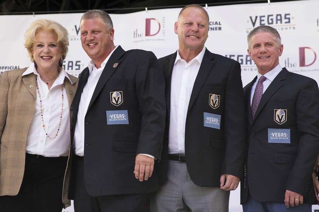 Las Vegas Mayor Carolyn Goodman, from left, The D Las Vegas casino-hotel owner Derek Stevens, Vegas Golden Knights head coach Gerard Gallant, and team president Kerry Bubolz, during a press confer ...