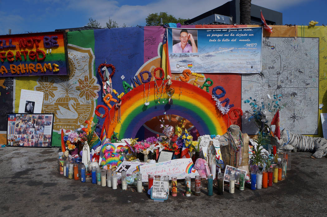 The parking lot at the Pulse nightclub in Orlando, Florida, is seen with mementos and displays honoring the 49 people who were killed one year ago during the mass shooting, in Orlando, Florida, U. ...