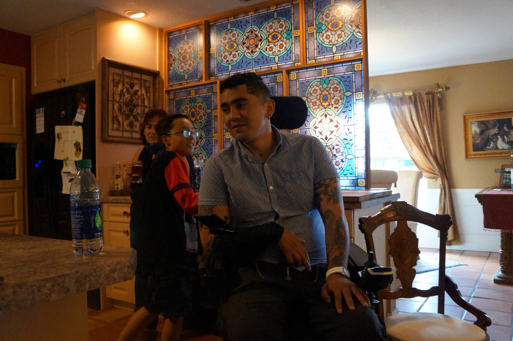 Juan Jose Cufino, a physical education instructor who survived the mass shooting at Florida's Pulse nightclub seen here in his wheelchair, in Orlando, Florida, U.S., on April 24, 2017. Photo taken ...