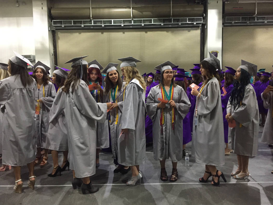Silverado High School students wait to enter Orleans Arena for their graduation ceremony Wednesday morning. The school graduated about 500 students. Meghin Delaney Las Vegas Review-Journal @Meghin ...