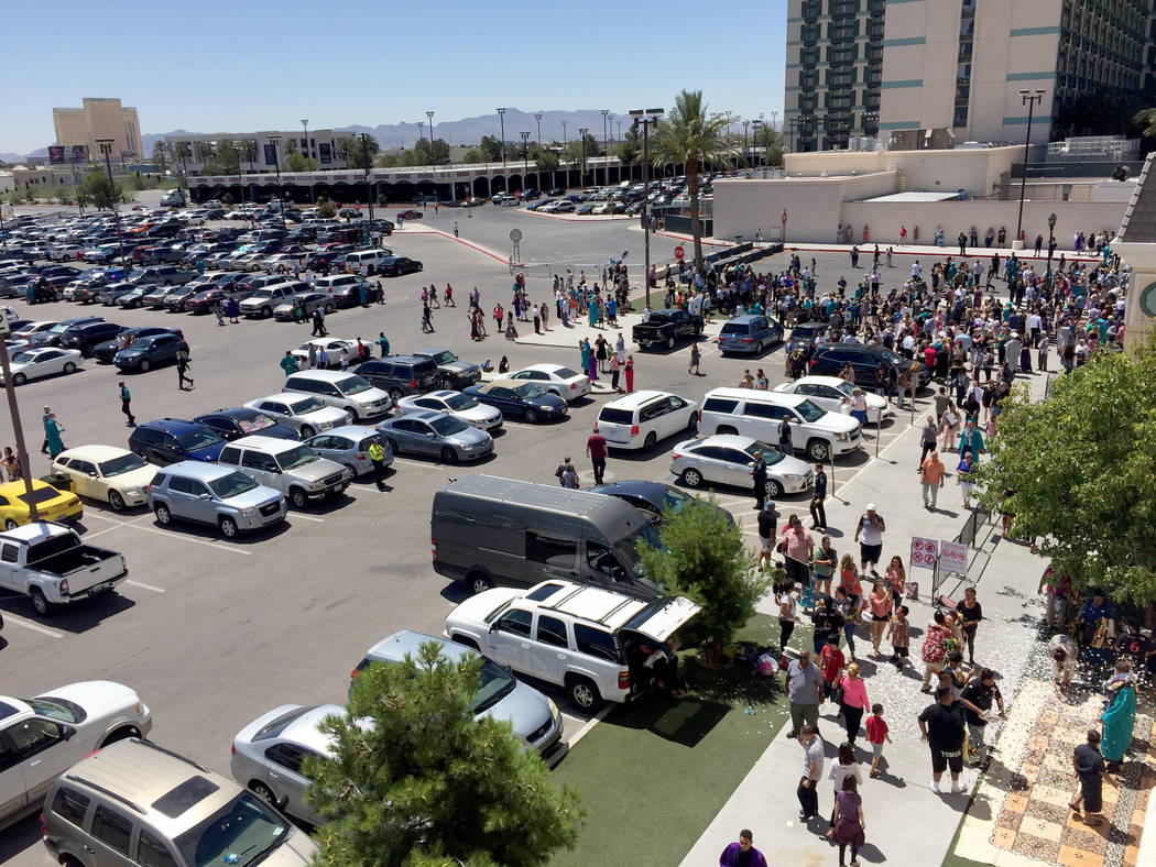 Families spill out of Orleans Arena into the parking lot Wednesday morning after Silverado High School's graduation ceremony. The arena will host 28 graduations in eight days this year. Meghin Del ...