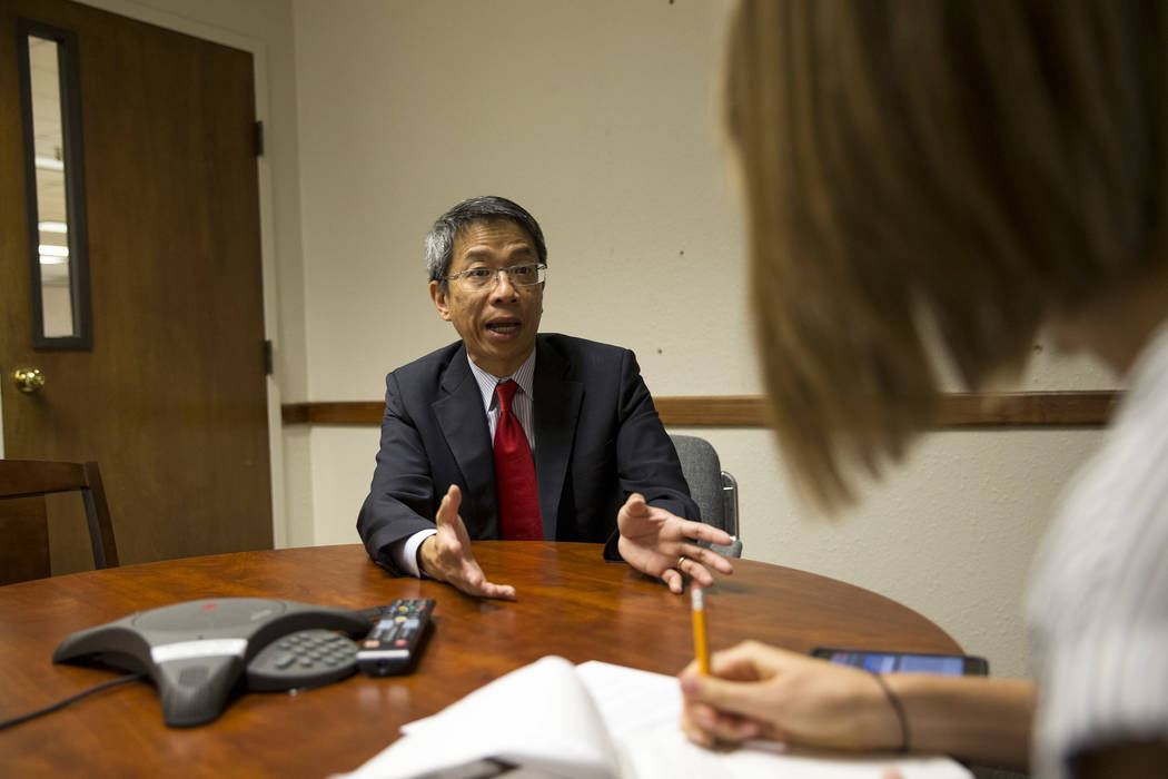 Hong Kong Commissioner Clement Leung during an interview with Review-Journal reporter Bailey Schulz on Thursday, June 15, 2017. Richard Brian Las Vegas Review-Journal @vegasphotograph