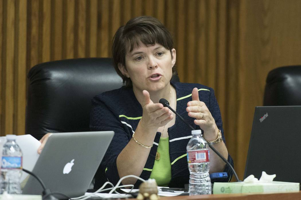 Clark County School District Board of Trustees member Erin Cranor speaks during the CCSD board meeting, May 18, 2016. (Jason Ogulnik/Las Vegas Review-Journal)