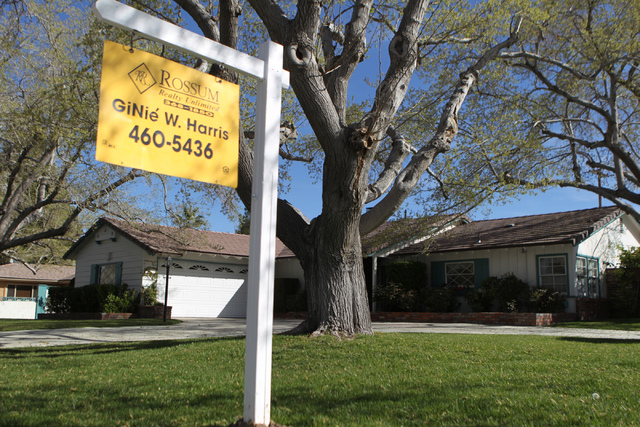 The median sales price for homes sold in May was $250,000, up 3.3 percent from April and 13.3 percent from a year ago.  (Erik Verduzco/Las Vegas Review-Journal)