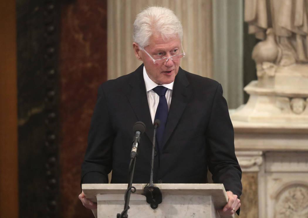 Former President Bill Clinton speaks in Londonderry, Northern Ireland, Thursday, March 23, 2017.  (Niall Carson/Pool via AP)