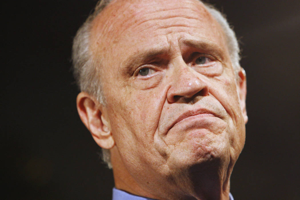 In this Oct. 5, 2007, file photo, Republican Presidential hopeful, former Tennessee Sen. Fred Thompson, pauses while addressing the Americans for Prosperity Foundation in Washington. (AP Photo/Cha ...