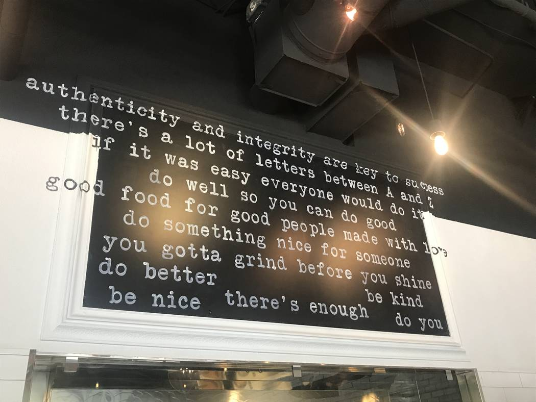 Words of wisdom from chef Natalie Young at Eat Summerlin. (Al Mancini)