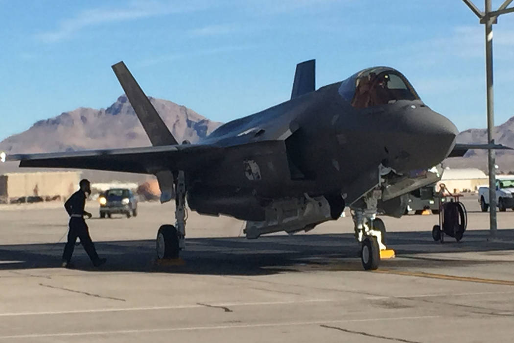 The first F-35 Lightning II joint strike fighter jet assigned to the 57th Wing arrives Thursday, Jan. 15, 2015, at Nellis Air Force Base. Keith Rogers Las Vegas Review- Journal