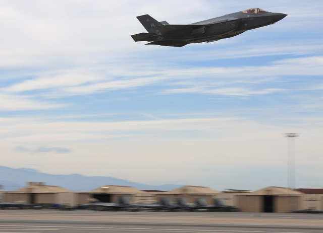 An F-35A Lightning II takes off from Nellis Air Force Base during Red Flag on Thursday, Feb. 2, 2017, in Las Vegas. Brett Le Blanc/Las Vegas Review-Journal Follow @bleblancphoto