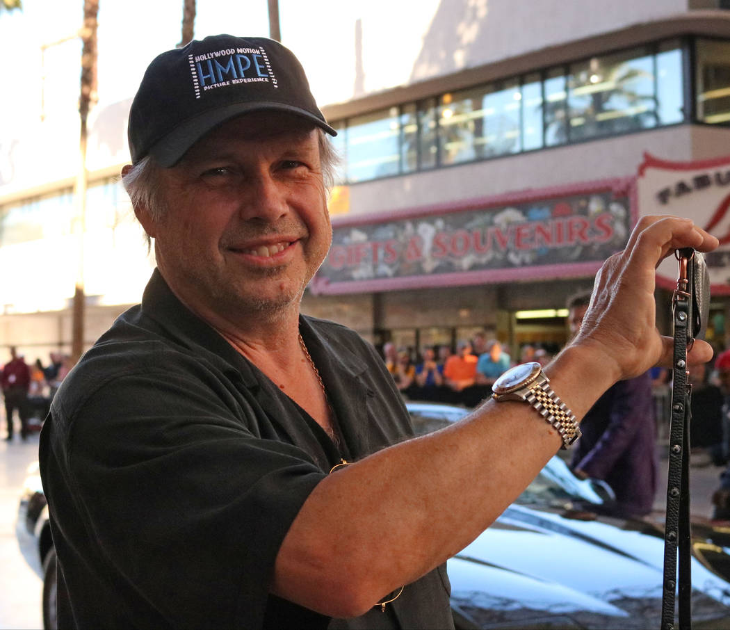 Carrie Fisher's brother, Todd Fisher, live streams the CarStars parade at the Fremont Street Experience, Friday, May 19, 2017. Gabriella Benavidez Las Vegas Review-Journal @latina_ish