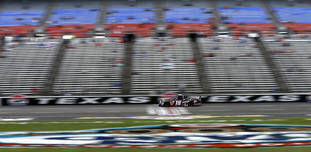 Noah Gragson races for qualifying during the NASCAR Camping World Truck Series Star-Telegram Qualifying Day at Texas Motor Speedway in Fort Worth, Texas, Friday, June 9, 2017. (Jae S. Lee/The Dall ...