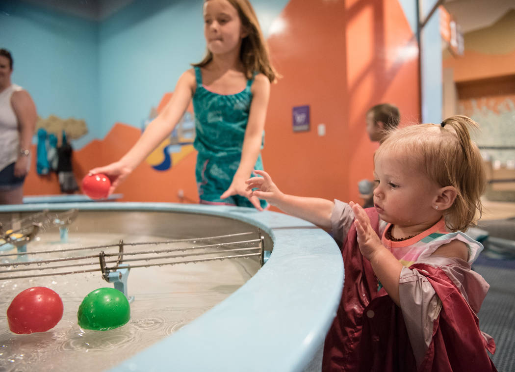 Lailah Gregory, 18 months, hangs out in the Water World room of the Discovery Children's Museum on Friday, June 9, 2017 in Las Vegas. Morgan Lieberman Las Vegas Review-Journal