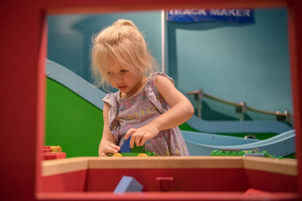 Estella Marlin, 3, builds a miniature car at Discovery Children's Museum on Friday, June 9, 2017, in Las Vegas. Morgan Lieberman Las Vegas Review-Journal