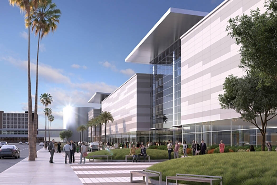 Rendering  showing conceptual images of the Las Vegas Convention Center after its planned overhaul. View of the facility from Paradise Road (the buildings are expected to be expanded west toward P ...