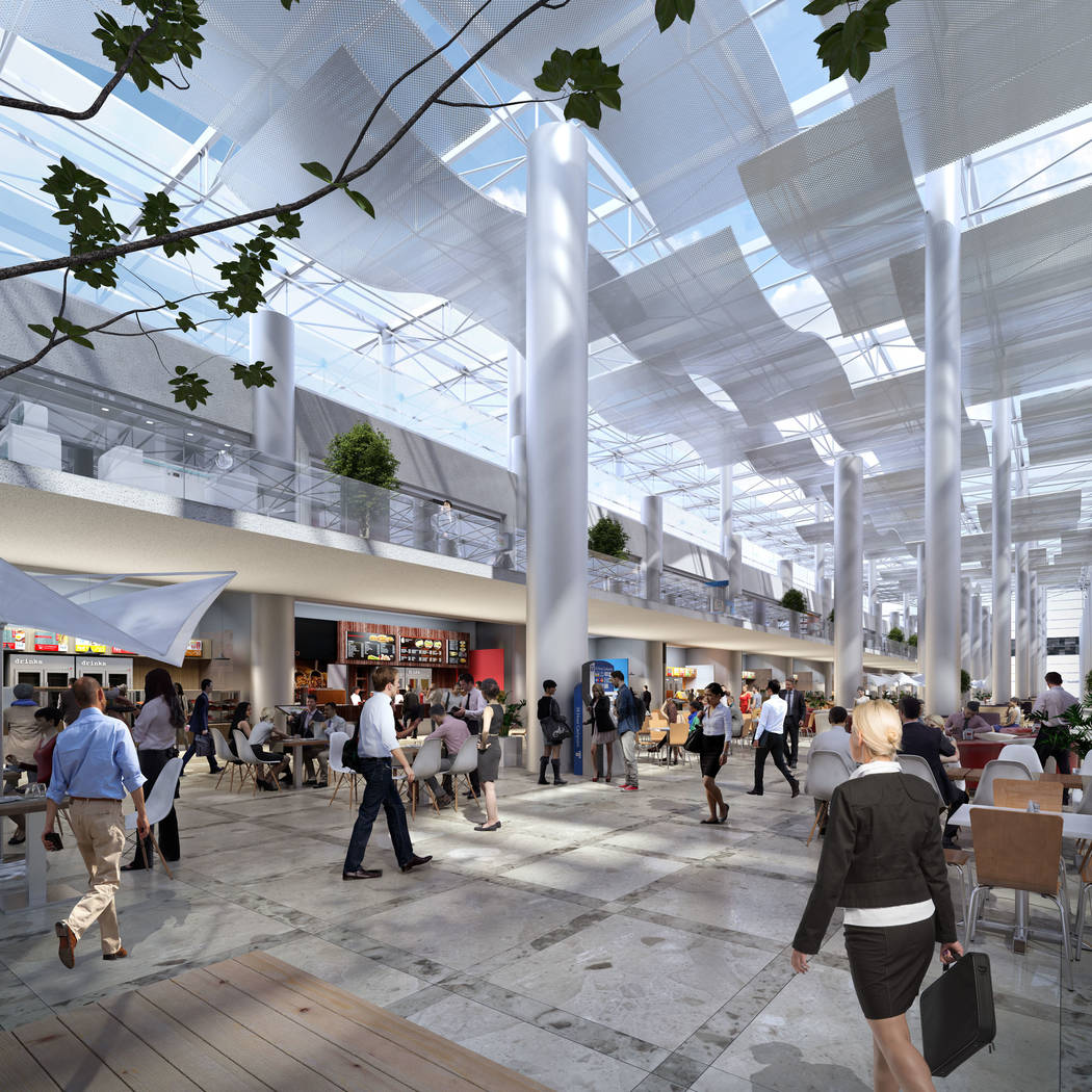 Rendering showing conceptual food court image of the Las Vegas Convention Center after its planned overhaul. (Las Vegas Convention and Visitors Authority)