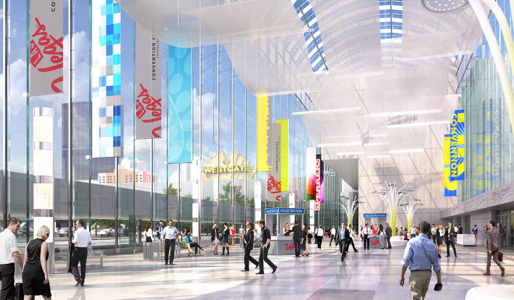 Rendering showing conceptual indoor image of the Las Vegas Convention Center after its planned overhaul. (Las Vegas Convention and Visitors Authority)