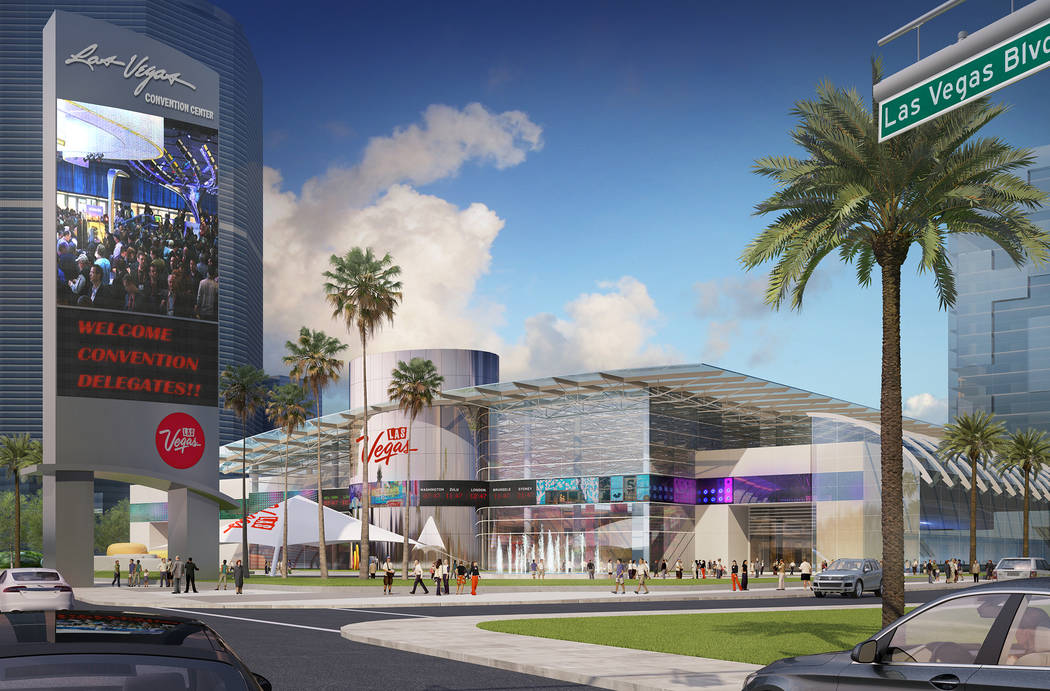 Rendering showing conceptual images of the Las Vegas Convention Center after its planned overhaul. Image is a view from Las Vegas Boulevard at the current Riviera Hotel site. Rendering courtesy La ...