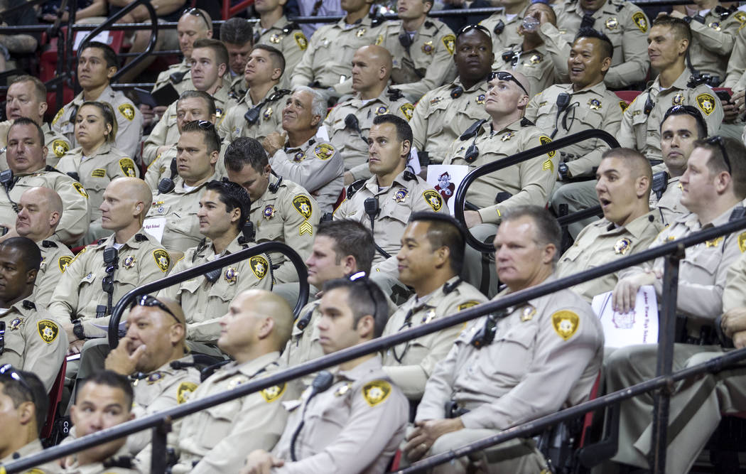 Metro Officers in support of Daxton Beck, the son of slained Metro Officer Alyn Beck, at his graduation ceremony at Thomas and Mack in Las Vegas on Saturday, June 10, 2017. Richard Brian Las Vegas ...