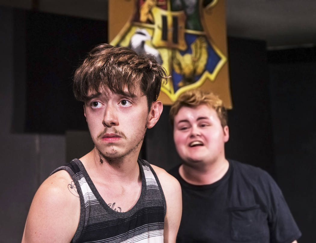 """Cory Covell, left, and Noah Keeling work through a scene in """"The Last Beans in the Box"""" during rehearsal at the Majestic Repertory Theatre on Tuesday, June 13, 2017, in Las Vegas. Benjamin Hager L ..."""