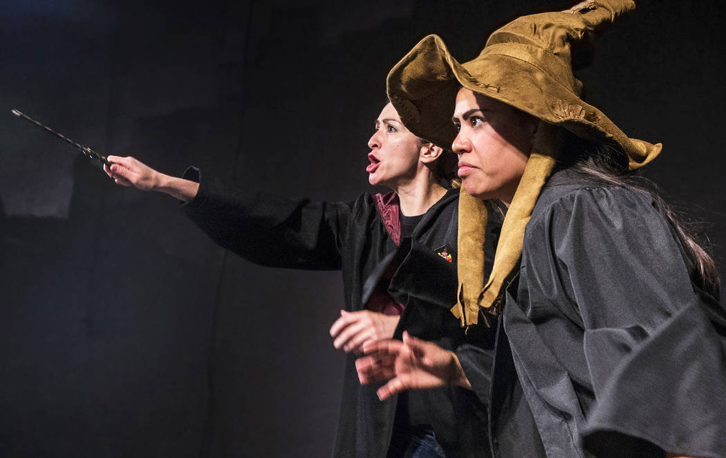 """Rebecca Reyes, left, and Natalie Senecal work through a scene in 7/21/07 during rehearsal for the Majestic Repertory Theatre's """"Potter Plays"""" on Tuesday, June 13, 2017, in Las Vegas. Benjamin Hage ..."""