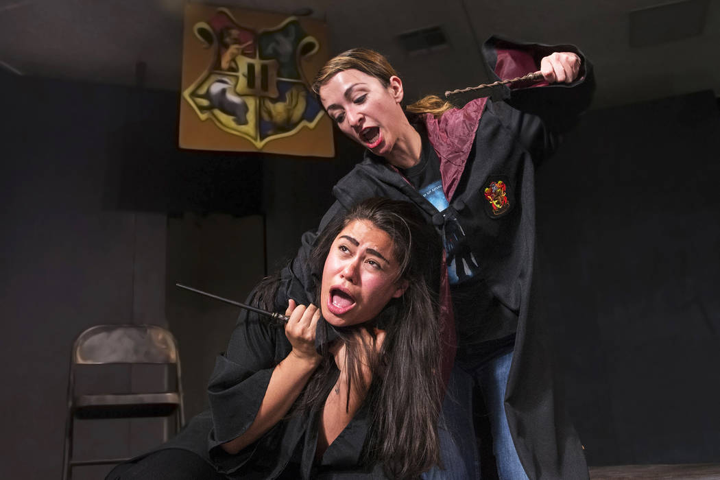 """Rebecca Reyes, right, and Natalie Senecal work through a scene in 7/21/07 during rehearsal for the Majestic Repertory Theatre's """"Potter Plays"""" on Tuesday, June 13, 2017, in Las Vegas. Benjamin Hag ..."""
