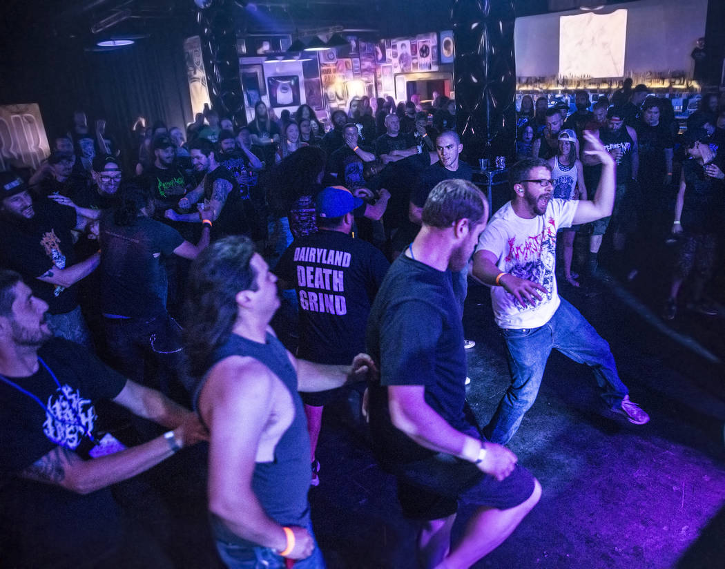 Metal fans head bang to Defleshed and Gutted during Las Vegas Death Fest on Thursday, June 8, 2017, at Backstage Bar & Billiards, in Las Vegas. Benjamin Hager Las Vegas Review-Journal @benjami ...