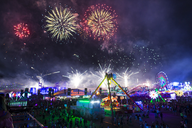 Fireworks go off during the first night of Electric Daisy Carnival at the Las Vegas Motor Speedway in Las Vegas during the early hours of Saturday, June 18, 2016. Chase Stevens/Las Vegas Review-Jo ...