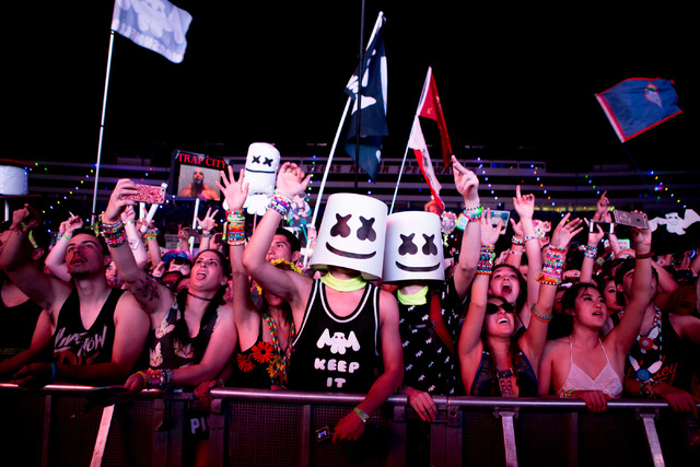 Fan's cheer for artist Marshmello preforming on the stage cosmicMEADOW the third night of Electric Daisy Carnival at Las Vegas Motor Speedway early Monday morning, June 20, 2016. (Elizabeth Brumle ...