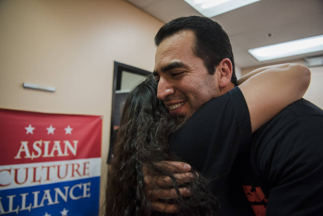 "Congressman Ruben Kihuen embraces an attendee at the ""I Am An Immigrant"" celebration event at the Asian Culture Alliance Center on Saturday, June 10, 2017, in Las Vegas. The even ..."
