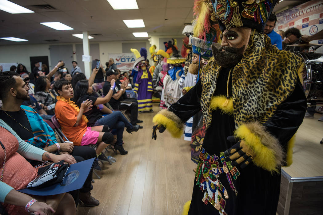 "Fiesta Moralense, a dance group dedicated to ""Los Chinelos,"" performs at the ""I Am An Immigrant"" celebration event at the Asian Culture Alliance Center on Satur ..."