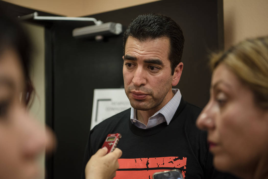 "Congressman Ruben Kihuen speaks with reporters at the ""I Am An Immigrant"" celebration event at the Asian Culture Alliance Center on Saturday, June 10, 2017, in Las Vegas. The eve ..."