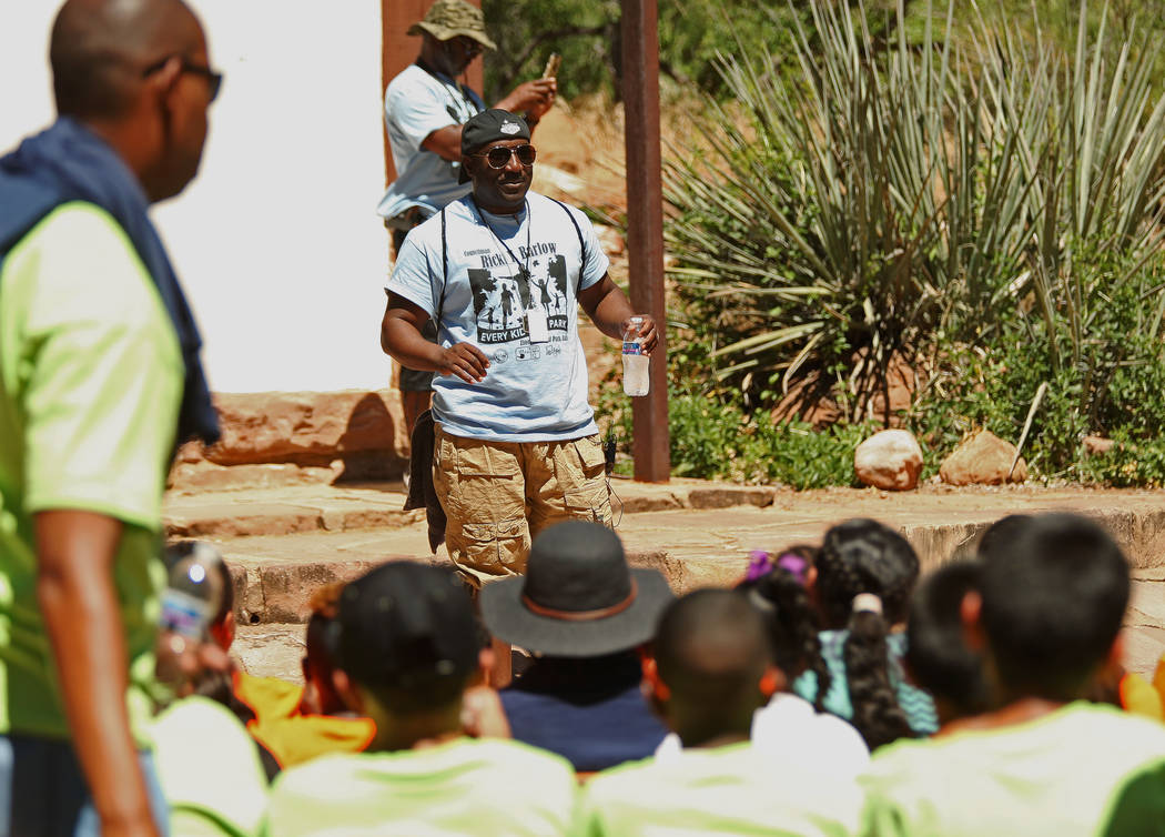 "Las Vegas City Councilman Ricki Barlow, center foreground, greets attendees at Zion National Park for the ""1 Million African American Youth In A Park"" program, Saturday, June 10, ..."