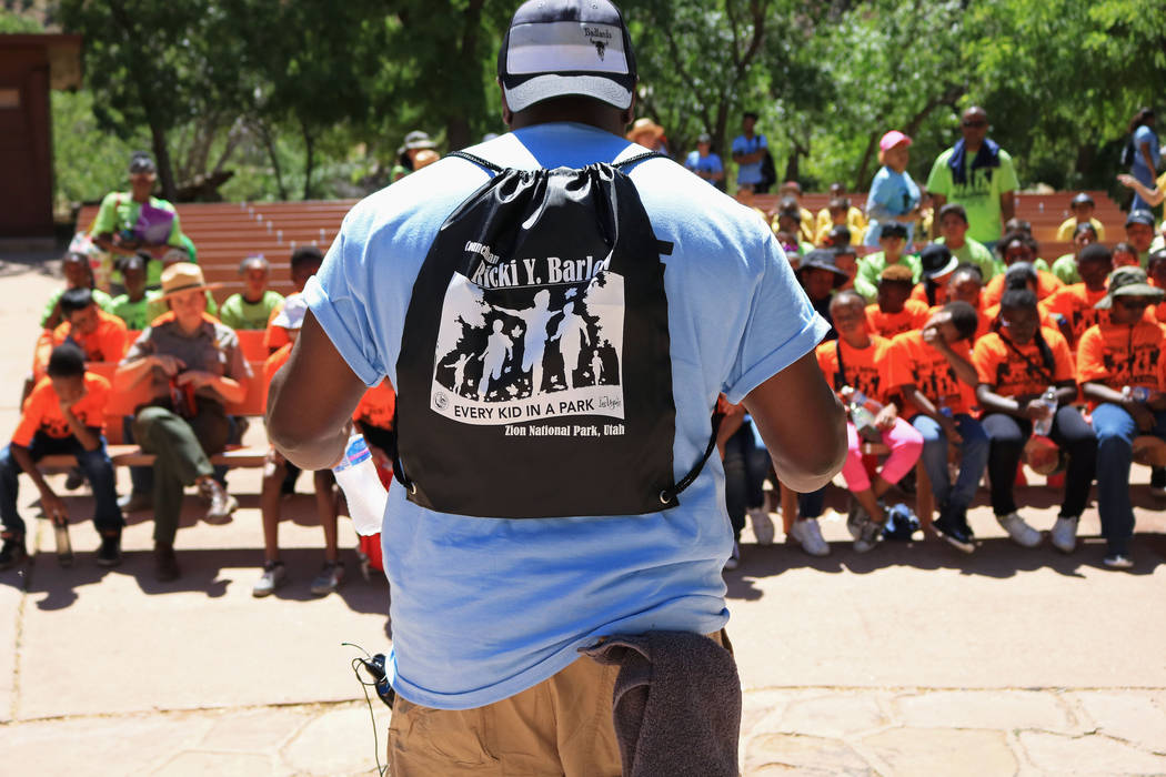 "Las Vegas City Councilman Ricki Barlow, center, gets orientation underway for the ""1 Million African American Youth In A Park"" program at Zion National Park, Saturday, June 10, 2 ..."
