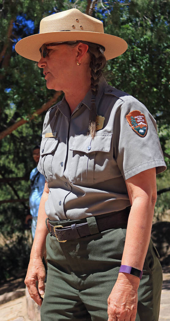 "Park Ranger Cinda Doughty explains safety measures to the students at Zion National Park during the ""1 Million African American Youth In A Park"", Saturday, June 10, 2017. One hun ..."
